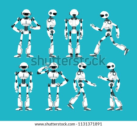 Robot character. Cartoon robotic mechanism, humanoid vector set. Humanoid and cyborg, character robot mechanical illustration