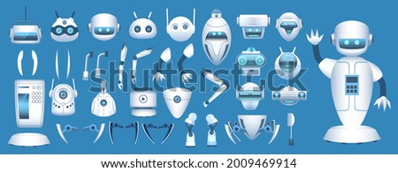 Robot character constructor. Cartoon futuristic android body parts. Robotic arms, legs and heads for animation. Robots elements vector set. Illustration robot character collection parts