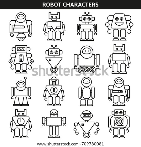 robot character icons in line style