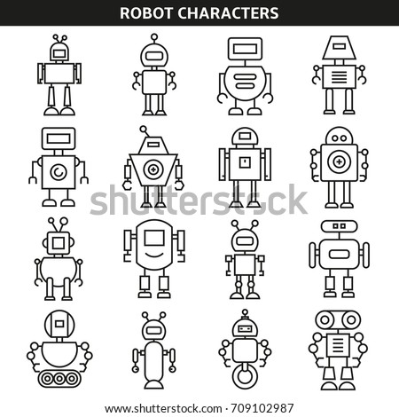 robot character icons line style