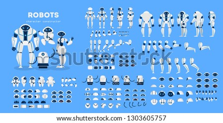 Robot character set for the animation with various views, hairstyle, emotion, pose and gesture. Artificial inteligence and cyborg. Isolated vector illustration in cartoon style
