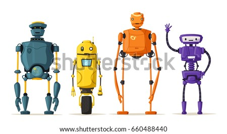 Robot character. Technology, future. Cartoon vector illustration