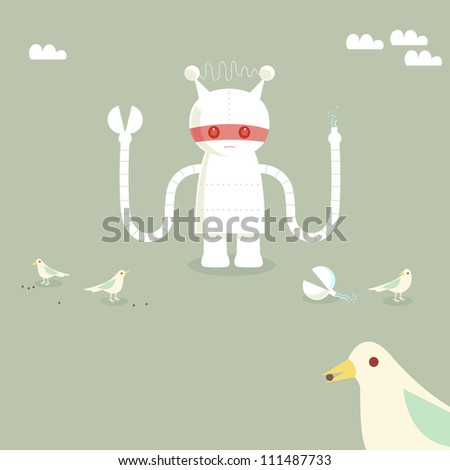 Robot character with broken arm and birds