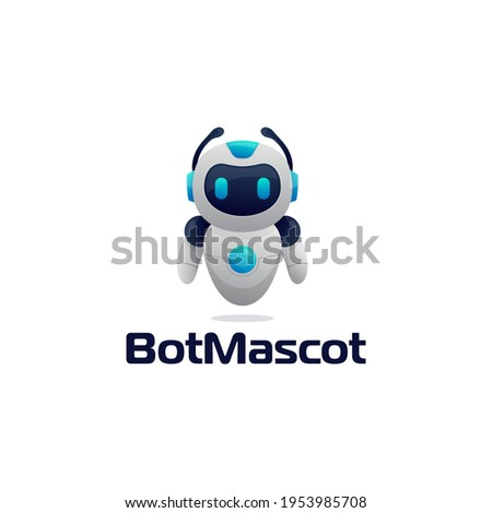 robot chatbot icon sign realistic style design vector illustration isolated on white background. Cute AI bot helper mascot character cartoon symbol business assistant