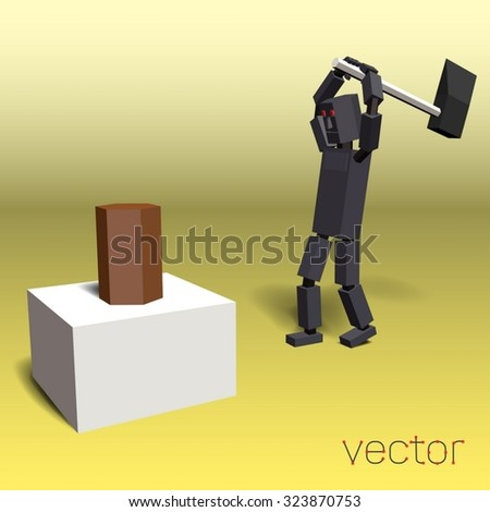 Stock Photo Robot chopping wood. Vector illustration.