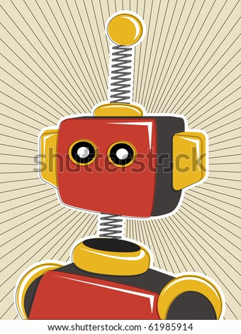 Robot colored in retro offset style and colors lines surrounding