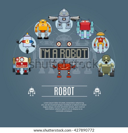 robot concept icons set vector