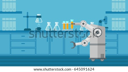 Robot conducting experiments in a laboratory. Robot working in a laboratory with a test tube. Robot manipulating with test tube in a laboratory. Vector flat design illustration. Horizontal layout.