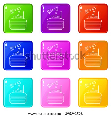 robot crane icons set 9 color