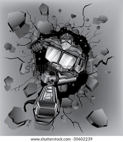 robot crash wall