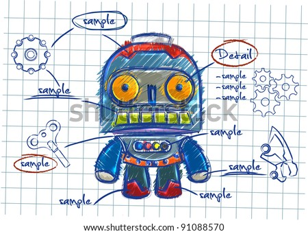 Robot doodle sketch design on a notebook paper