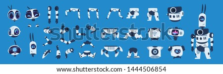Robot elements. Cartoon android character animation set, futuristic machine constructor with different poses. Vector isolated futuristic cybernetic objects on blue background