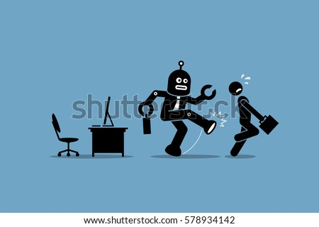 robot employee kicks away a