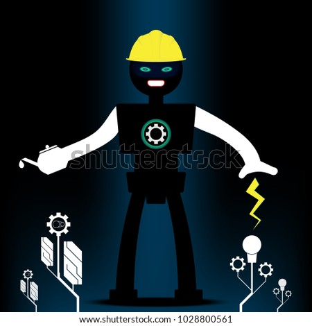 Stock Photo Robot engineering and machinery tree shape.Concept energy and technology.