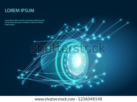 Robot eye. Vector of modern abstract polygonal background. Digital vision - vector logo template concept illustration. Abstract human eye creative sign. Security technology and surveillance.