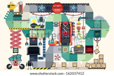 Robot factory board game for kids infographics charts symbols graphic elements illustrator vector illustrator vector