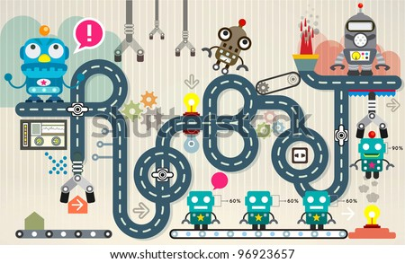 Robot factory infographic vector illustration. factory Map and Information Graphics - stock vector