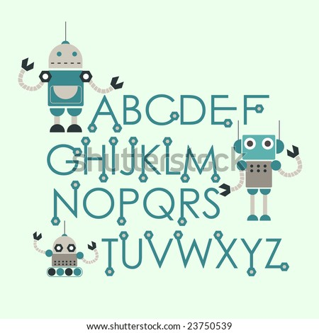 robot font set - stock vector