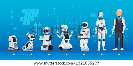 Robot generations. Robotics engineering evolution, robots ai technology and humanoid computer generation. Engineer robotic artificial Intelligence companion cartoon vector illustration