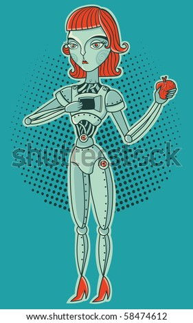 robot girl with heart