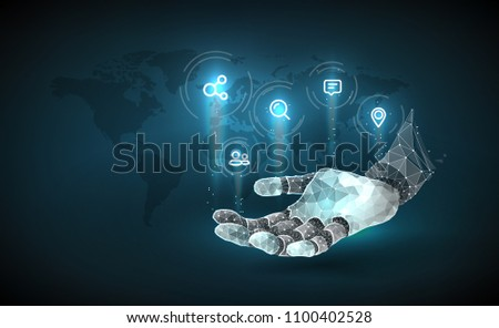 Robot hand. Chat Bot Virtual Assistance Of Website Or Mobile Applications, Artificial Intelligence Concept. Internet of things (IOT), devices and connectivity concepts on a network.Planet Earth. Vector