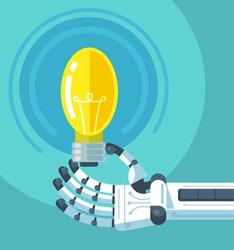 Robot hand holding light bulb. Vector flat illustration