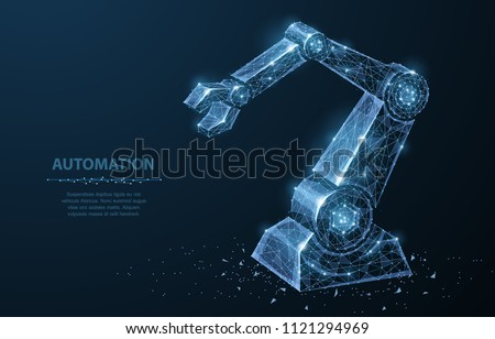 Robot hand. Polygonal wireframe mesh looks like constellation on dark blue with dots and stars. Automation, conveyor, manufacture or other concept illustration or background