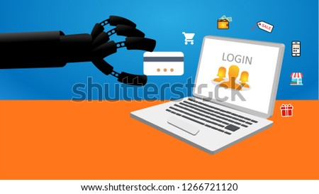 Robot hand shopping for gifts on a laptop #1266721120