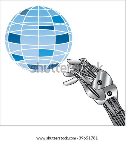 robot hand with sphere