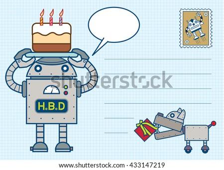robot happy birthday postcard