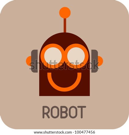 Robot Head - color vector icon. Smiling Robot Face. - stock vector