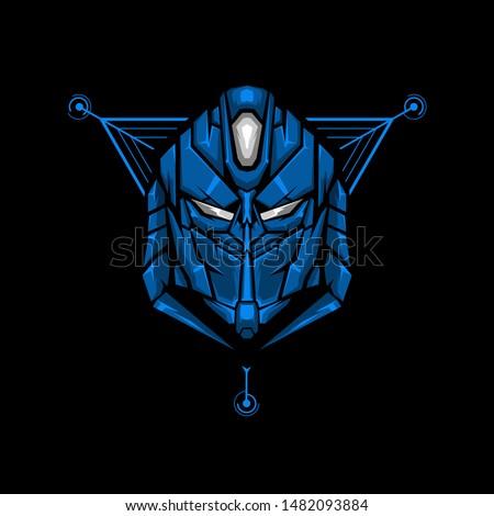 robot head esports logo robot