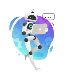 Robot holding tablet on gradient background. Vector illustration, chatbot hotline operator advises client, online global technical support, robot operator. Artificial intelligence consulting people.