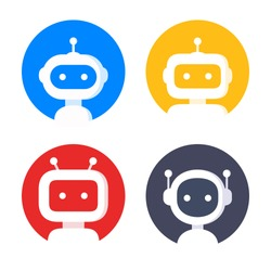 Robot icon set. Bot sign design. Chatbot symbol, logo template. Modern flat style cartoon character illustration. Isolated on white