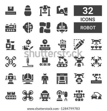 robot icon set. Collection of 32 filled robot icons included Robot arm, Robot, Drone, Conveyor, Robotic arm, Artificial intelligence, d printing pen, Exoskeleton, Toy, Arms, Conveyor belt