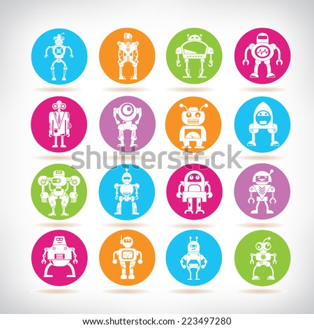robot icons  colorful circle