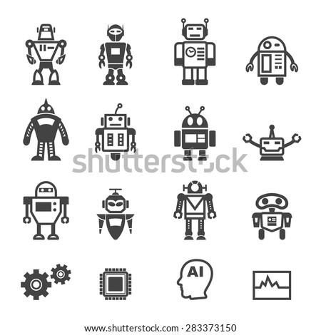 robot icons  mono vector symbols