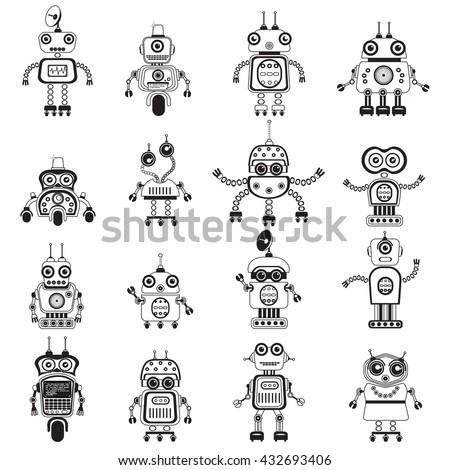 robot icons  mono vector
