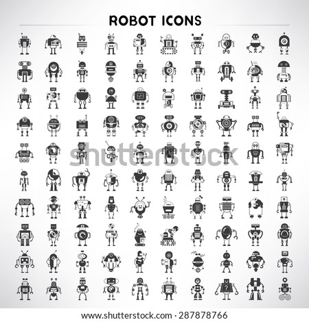 robot icons set  big set vector