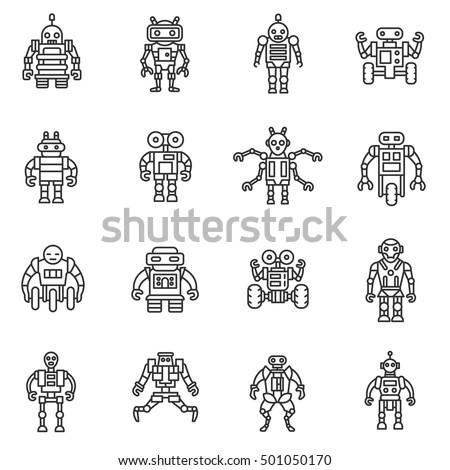 robot  icons set bot  symbols