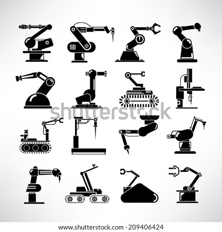 robot icons set  industry robot