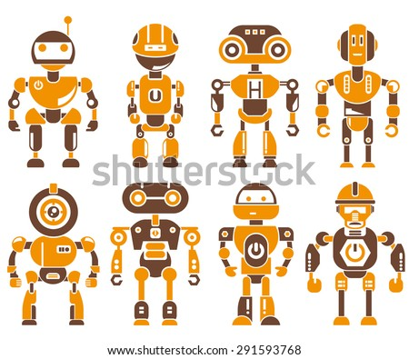 robot icons set  orange theme