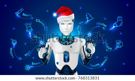 robot in a red hat of santa