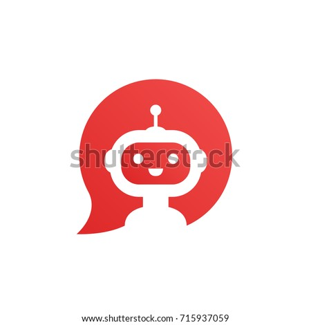 Robot in red speech bubble on white background. Cute robot icon in speech bubble. Support service bot. Vector illustration
