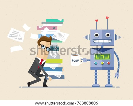 Robot is the boss and person employee is subordinate. Tired office man carries big pile of documents, and Artificial intelligence stand with a big cup of coffee. Vector, illustration, flat