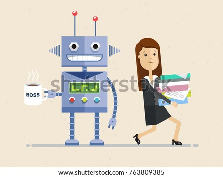 Robot is the boss and person employee is subordinate. Woman carries many documents, and Artificial intelligence stand with a big cup of coffee. Vector, illustration, flat