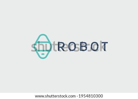 Robot logo design techno, hi-tech and innovative