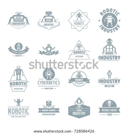 Robot logo icons set. Simple illustration of 16 robot logo vector icons for web
