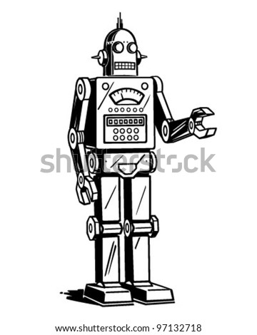robot man   retro clipart