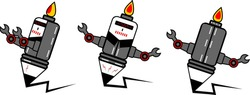 robot mascot pencil with fire on it, Good for copywriter's agency logos, community t-shirt designs, etc.